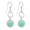 Sterling Silver Green Jade Earrings