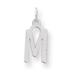 Sterling Silver Medium Slanted Block Initial M Charm