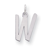 Sterling Silver Large Slanted Block Initial W Charm