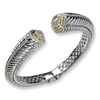 Sterling Silver w/14k Diamond Hinged Bangle Bracelet