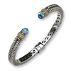Sterling Silver w/14k Antiqued Diamond/Blue Topaz Hinged Bracelet