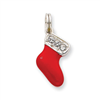Sterling Silver CZ Enamel Stocking Charm