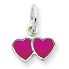 Sterling Silver Pink Enameled Double Heart Charm