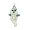 Sterling Silver Enameled Cat Hanging Charm