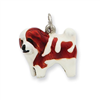 Sterling Silver Enameled Coton De Tulear Charm