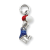Sterling Silver Enamel Cheerleader Charm