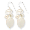 Sterling Silver Moonstone/White Pearl/Rock Quartz/White Jade Earrings