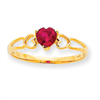 10k Polished Geniune Ruby Birthstone Ring