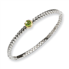 Sterling Silver w/14ky 6mm Peridot Hinged Bangle Bracelet