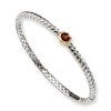 Sterling Silver w/14ky 6mm Garnet Hinged Bangle Bracelet