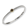 Sterling Silver w/14ky 6mm Smokey Quartz Hinged Bangle Bracelet