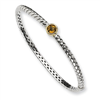 Sterling Silver w/14ky 6mm Citrine Hinged Bangle Bracelet