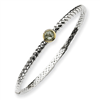 Sterling Silver w/14ky 6m Green Amethyst Hinged Bangle Bracelet