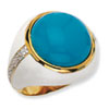 Gold-plated Sterling Silver Wht Enam Simulated Turquoise & CZ Ring