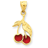 14k Polished Red Enameled Cherries Pendant