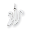 Sterling Silver Stamped Initial W