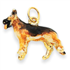 14K Enameled Medium German Shepherd Charm