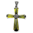 Sterling Silver Green Cubic Zirconia & Marcasite Cross Pendant
