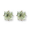 14kw 6mm Square Green Amethyst Earring