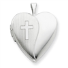 Sterling Silver 20mm with Cross Design Heart Locket chain
