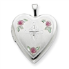 Sterling Silver 20mm Enameled with Cross Design Heart Locket chain