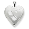 Sterling Silver 20mm with Handprints Heart Locket chain