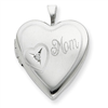 Sterling Silver 20mm Mom with Diamond Heart Locket chain
