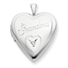 Sterling Silver 20mm Grandma with Diamond Heart Locket chain