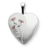 Sterling Silver 16mm Enameled Lily Heart Locket chain