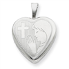 Sterling Silver 16mm Girls Communion Heart Locket chain