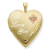 1/20 Gold Filled 20mm Enameled I Love You Heart Locket chain