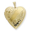 1/20 Gold Filled 20mm Side Swirled Heart Locket chain