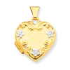 14k Heart Locket with Rhodium Flowers