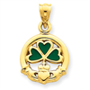 14k Enameled Claddaugh Charm