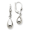 14k White Gold Polished Dangle Leverback Earrings