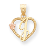 14k Two-Tone Initial J in Heart Charm