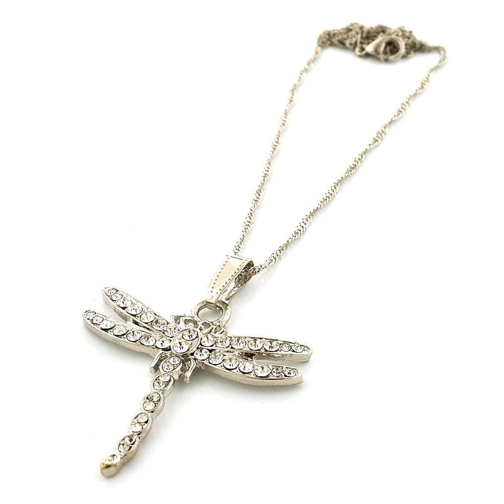 Fashion Jewelry Silver-Tone Dragonfly Necklace with Clear Rhinestones