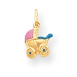 14k Enameled 3-Dimensional Baby Carriage Charm