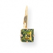 14k 6mm Princess Cut Peridot leverback earring