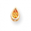14k 6x4mm Pear Citrine bezel pendant