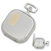 Charles Hubert 14k Gold-plated Two-tone Chrome Square Pocket Watch