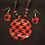 Black and Red Mother of Pearl Necklace and Earrings Set
