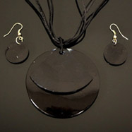 Black Mother of Pearl Necklace and Earrings Set