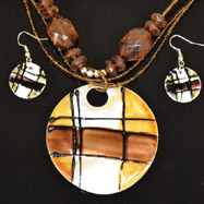 Brown and Black Necklace and Earrings Set