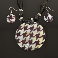 Black and Grey Mother of Pearl Necklace and Earrings Set