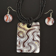 Black,Brown and Cream Mother of Pearl Necklace and Earrings Set