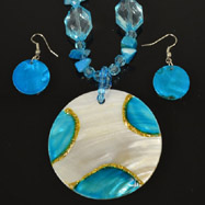 Blue and White Mother of Pearl Necklace and Earrings Set