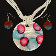 Multicolored Mother of Pearl Necklace and Earrings Set