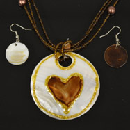 Brown Heart Mother of Pearl Necklace and Earrings Set