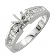 White Gold Princess Cut Diamonds Semi-Mount